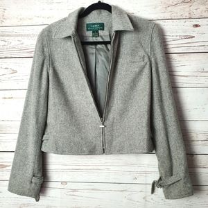 Lauren Ralph Lauren Gray Wool Moto Jacket